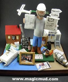 Custom birthday gift for a Contractor Personalized for Dad by www.magicmud.com 1 800 231 9814 creating a custom made gift figurine for Dad based on the things he likes to do! ...incorporating his work, sports, family, hobbies, food, drink, electronic gadgets, etc. $225 #dad #men #guys #christmas #birthday #anniversary #custom #personalized #xmas #present #award #ChristmasGift #BirthdayGift #husband #boyfriend #uncle