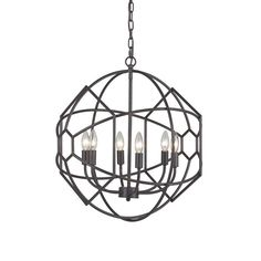 Aged bronze collects in a honeycomb metalwork design to create an eye of your room. Its roundness offers a slight softness to a stark, modern room, and its rustic iron open design allows for light to e...  Find the Hive's Eye Chandelier, as seen in the Mission Industrial Collection at http://dotandbo.com/collections/mission-industrial?utm_source=pinterest&utm_medium=organic&db_sku=92261