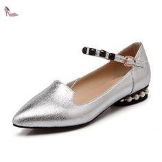 VogueZone009 Femme Boucle à Talon Bas Pu Cuir Couleur Unie Pointu Chaussures Légeres, Argent, 33 - Chaussures voguezone009 (*Partner-Link)