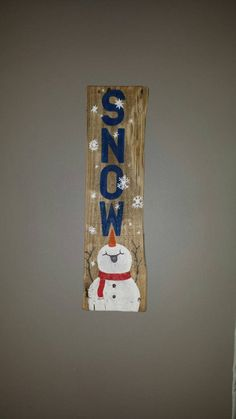 Reclaimed pallet wood sign snow snowman winter decor