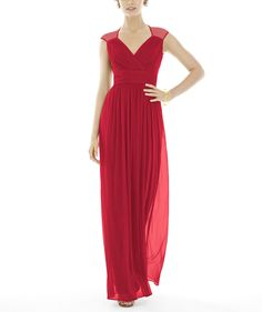 Flowing v-neck, floor length red bridesmaid dress by Alfred Sung Style D693 available on Brideside.com