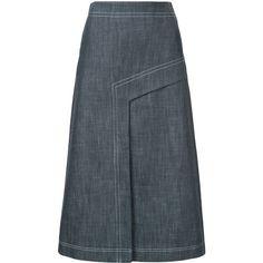 Tibi A-line denim skirt (31,285 DOP) ❤ liked on Polyvore featuring skirts, blue, high rise skirt, knee length a line skirt, blue skirt, high rise denim skirt and tibi skirt