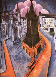 Tableaux sur toile, reproduction de Kirchner, The Red Tower In Halle, 120x91cm