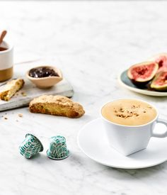 Indulge with this delicious and warming honey and fig jam breakfast cappuccino featuring Nespresso's Limited Edition Tribute to Milano capsules
