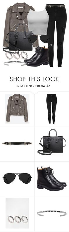 """Style #11648"" by vany-alvarado ❤ liked on Polyvore featuring Jakke, River Island, Yves Saint Laurent, Ray-Ban, agnès b. and ASOS"