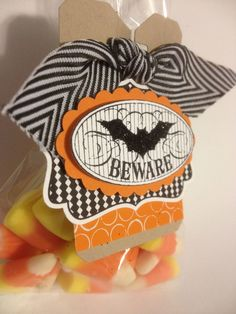 Halloween treat bag made from the Stampin' Up! Goodie Gear Simply Created Kit