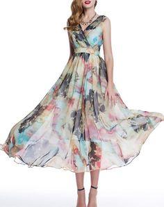 Fashion A-line Floral Sleeveless Floral-print Beach Maxi Dress  Koszorúslányruhák 994abfdfc3