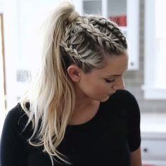 Boxer braid into a ponytail by Annie Pearce - Boxer Braids - Coins - Hot Boxer Braids Hairstyles, Cool Braid Hairstyles, Viking Hairstyles, Softball Hairstyles, School Hairstyles, Wedding Hairstyles, Tween Hairstyles For Girls, Running Hairstyles, Camping Hairstyles
