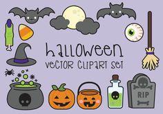 Prime Vector Clipart - Clipart Halloween - Spooky Halloween clipart Set - haute qualité vecteurs - Instant Download - Kawaii Clipart