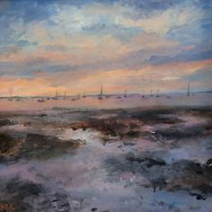 Spring Reflections by Molly Garnier Affordable Art Fair, Contemporary Art, Coast, British Artists, Clouds, Sky, Landscape, Gallery, Spring