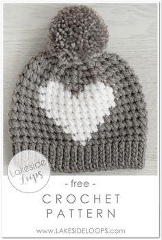Wonderful Free of Charge Crochet Hat kids Popular Hunter Crochet Heart Hat – FREE Pattern – Lakeside Loops Crochet Winter Hats, Crochet Kids Hats, Crochet Crafts, Crochet Toddler Hat, Crocheted Hats, Crochet Christmas Hats, Crochet Birds, Diy Crafts, Knit Hats