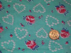 Vintage Mint Green Feed Sack Feedbag Quilt Fabric Dainty Flower Hearts &Roses #2