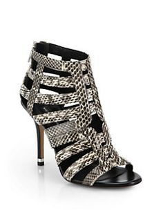 Michael Kors Collection - Caleb Snakeskin & Leather Cage Sandals