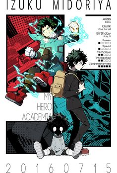 izuku midoriya , from zero 😥 to hero 😎💪 Boku No Hero Academia, My Hero Academia Memes, Hero Academia Characters, My Hero Academia Manga, Estilo Anime, Animes Wallpapers, Illustrations, Me Me Me Anime, Character Design