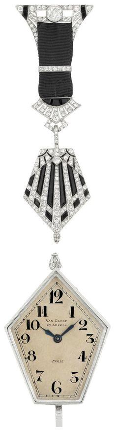 Platinum, Diamond, Black Onyx and Black Grosgrain Ribbon Lapel Watch, Van Cleef & Arpels, Paris, signed Van Cleef et Arpels, Paris, no. 16619, with French assay mark, circa 1915.