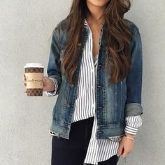 Aritzia - Love the striped oversize button down and the denim jacket