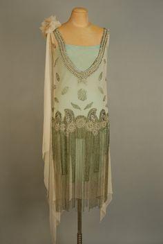 JEWELED FLAPPER DRESS with BEADED FRINGE, 1920's.
