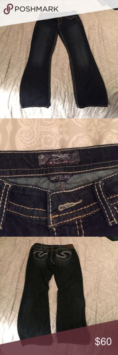 NEVER WORN!! Silver Natsuki Jeans! W31/L31 NEVER WORN!! Silver Natsuki Jeans! W31/L31. Dark wash, great condition! $75 OBO! Silver Jeans Jeans Boot Cut