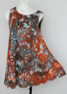 Tie dye sleeveless tank top tunic ice dyed   by ASPOONFULOFCOLORS