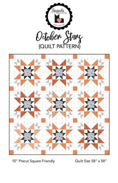 October Stars Quilt Pattern using Scaredy Cat fabrics by Riley Blake Designs Big Block Quilts, Star Quilts, Mini Quilts, Halloween Quilt Patterns, Halloween Quilts, Halloween Blocks, Halloween Pillows, Halloween Ideas, Quilt Square Patterns