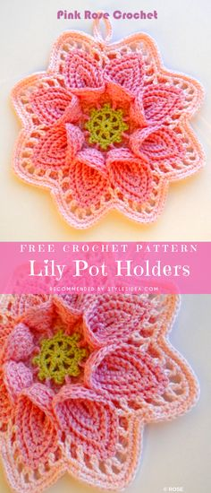 Lily Pot Holders Free Crochet Pattern, Pretty well-done crochet pot holder for home use. The project comes from east Europe country crochet traditions. #crochetfreepattern #crochetcrafter #crochetbasket #crochetpotholder #freecrochetpatternsforpotholder