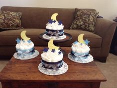 Moon and Stars Whimsical Diaper Cake Baby Shower Centerpiece bundt cake size other toppers and colors prices too Baby Shower Cakes, Baby Shower Parties, Baby Boy Shower, Baby Party, Diaper Cake Centerpieces, Baby Shower Centerpieces, Three Tier Cake, Cake Sizes, Jamel