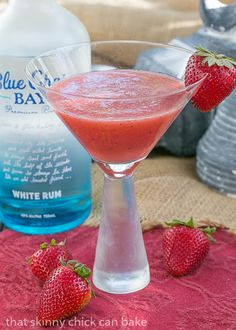 Hawaiian Sunset Cocktail | Strawberries, pineapple and rum form an irresistible tropical drink