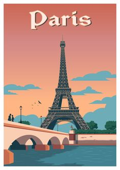 Paris travel poster vintage wall art France print ------- What will I get? Vintage Wall Art, Vintage Walls, Photo Wall Collage, Picture Wall, Poster Retro, Poster Vintage, Paris Poster, Art Français, Travel Illustration