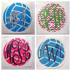 Monogrammed Volleyball Decal for Car by MeowMeowHouseDesigns, $6.00