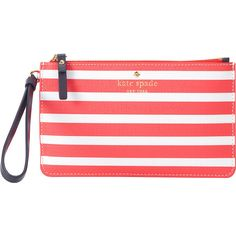 kate spade new york Fairmount Square Slim Bee Wristlet ($50) ❤ liked on Polyvore featuring bags, handbags, clutches, designer handbags, red, kate spade wristlet, wristlet handbags, kate spade purses, kate spade handbag and red hand bags