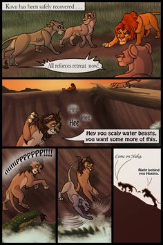 | The Lost Days of Kovu and Kiara page 51 | << First < Previous | Next > -------------------------------------------------------------- The Outlanders retreat but not before our dear Nu... Lion King Story, Lion King 3, Lion King Fan Art, Disney Lion King, King Art, Lion King Images, Pride Rock, Mom Died, Male Lion