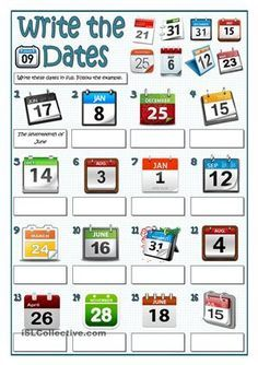 More practice to write dates. My previous worsheet teaches how to do it, so this worksheet could be used as classroom practice, homework or as a test. Apart from the 16 dates there are more pictures on the top.Key provided - ESL worksheets