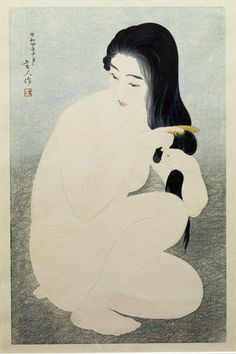 "redlipstickresurrected: ""Torii Kotondo aka 鳥居 言人 aka Saitō Akira aka 斎藤 信 (Japanese, b. Nihonbashi district of Tokyo, Japan) - Kamisuki (Combing Her Hair), 1929 Woodcuts "" Japanese Drawings, Japanese Prints, Art And Illustration, Figure Drawing, Painting & Drawing, Tag Art, Art Indien, Art Chinois, Art Asiatique"
