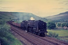 """the former """"Lord Hurcomb"""" works a freight at Ais Gill. The loco was withdrawn from Carlisle Kingmoor in Sep 1966 after just 15 years in service. Diesel Locomotive, Steam Locomotive, Uk Rail, Steam Railway, History Images, British Rail, S Class, Steam Engine, Carlisle"""