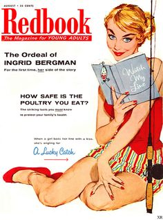 The August 1956 cover of Redbook magazine. #vintage #1950s #fishing #summer