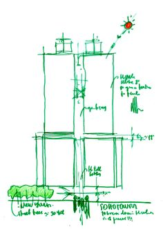 Soho Towers in New York. Drawing by Renzo Piano.