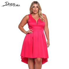 16a5051a672f Summer Solid Fashion Deep V neck Sleeveless Dress Plus Size Tank Dresses  Big Vestidos Mujer Oversize Irregular Robe Femme Tunic-in Dresses from  Women's ...