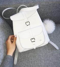 @grafea #leather #backpack #white #pompom #fluffy www.grafe.co.uk