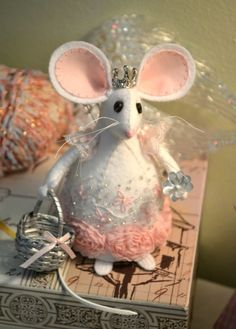 Mouse pincushion with princess crown from Etsy shop Whisker Meadow