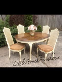 French Provincial Louis XV Dining room Set by MyLilFrenchFarmhouse French Dining Chairs, Dining Table, Painted Furniture, Dining Room, Dining, Dining Room Table, French Country Dining Room, French Provincial, Dining Room Set