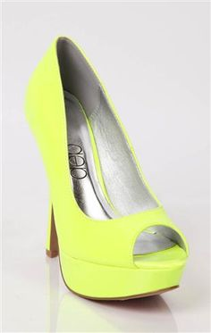 Deb Shops #neon #yellow platform peep toe #pumps