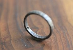 Personalized Single Hammered Recycled Silver Ring .03CT White