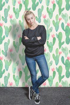 Great idea to decora kids room wall - removable eco-friendly wallpaper with cacti design. #interiordecor #kidsroom #homedecor #peelandstick #wallmurals #walldecor #wallpaper #removable #homesweethome #kids #cactus #cacti #pastel #cactusmania #green #greendecor roomdecor #decorideas #interiors #homedecorideas