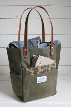 WWII era Canvas & Camo Pocket Tote Bag