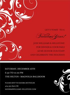 Flourished Color Block - Black & Red Party Invitations by Noteworthy Collections - Invitation Box