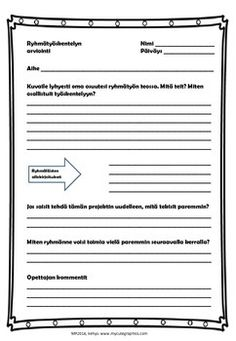 Ryhmätyön arviointia (in Finnish) by Maria Pernu Student Self Assessment, Evaluation Form, Teacher Notes, Group Work, Sheet Music, Image, Teamwork, Music Sheets