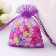 Organza Jewelry Packaging Bags Gift Bags Drawstring Pouch Wrap Drawstring For Wedding Christmas Gift 50Pcs