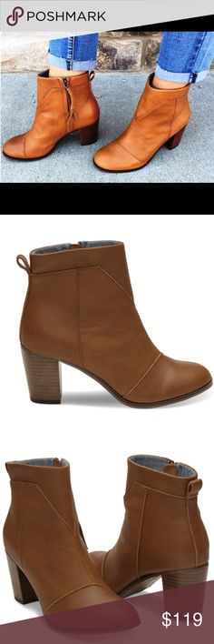 Toms tan leather lunata Bnwt&box boot Toms tan leather lunata Bnwt&box boot. Brand new:retail store, gorgeous on and fits true to size! TOMS Shoes Ankle Boots & Booties