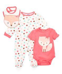 This bon bébé Coral Pretty Fox Footie Set - Infant by bon bébé is perfect! #zulilyfinds