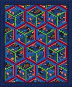 Into The Blue quilt by Hoffman Fabrics. Free pattern. I've always loved tumbling blocks and this is visually the same, but not pieced at all the same. #quilt